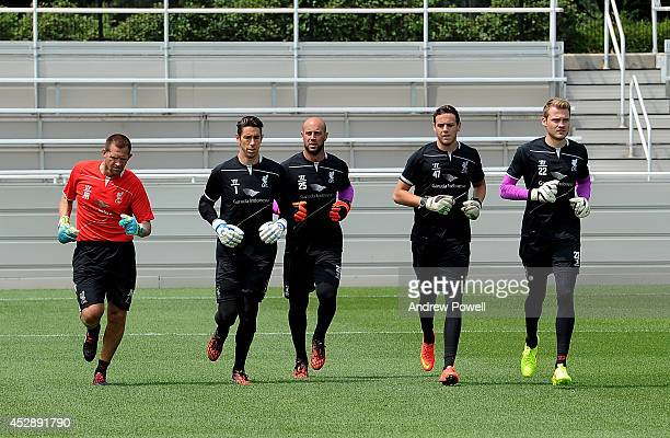 Brad Jones Pepe Reina Danny Ward and Simon Mignolet of Liverpool in action during a training session at Princeton University on July 29 2014 in...