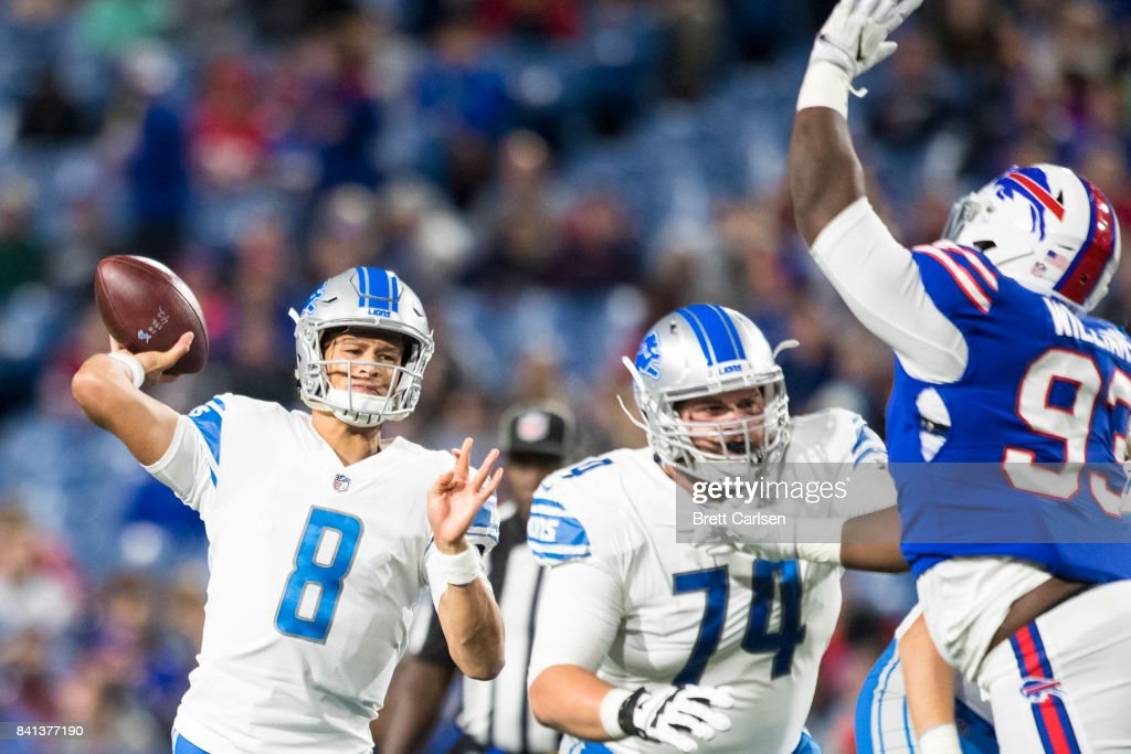 Brad Kaaya #8 of the Detroit Lions passes the ball during the second half against the Buffalo Bills on August 31, 2017 at New Era Field in Orchard Park, New York. Buffalo wins the preseason matchup over Detroit 27-17.