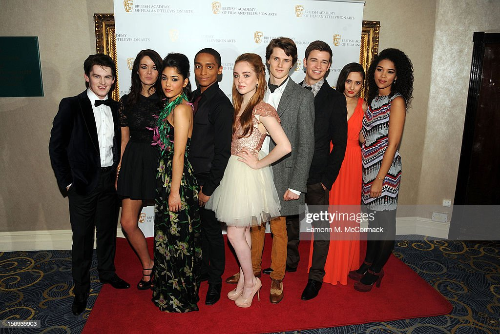 Brad Kavanagh, Jade Ramsey, Tasie Lawrence, Alex Sawyer, Louisa Connolly-Burnham, Eugene Simon, Burkley Duffield, Klariza Clayton and Alexandra Shipp of Nickelodeon's House of Anubis attends 2012 Children's BAFTA Awards at Hilton Park Lane on November 25, 2012 in London, England.