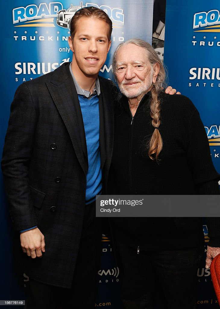 "Brad Keselowsiki and Willie Nelson stop by ""Freewheelin' with Meredith Ochs and Chris T."" on SiriusXM's Road Dog Trucking Radio at the SiriusXM Studios on November 20, 2012 in New York City."
