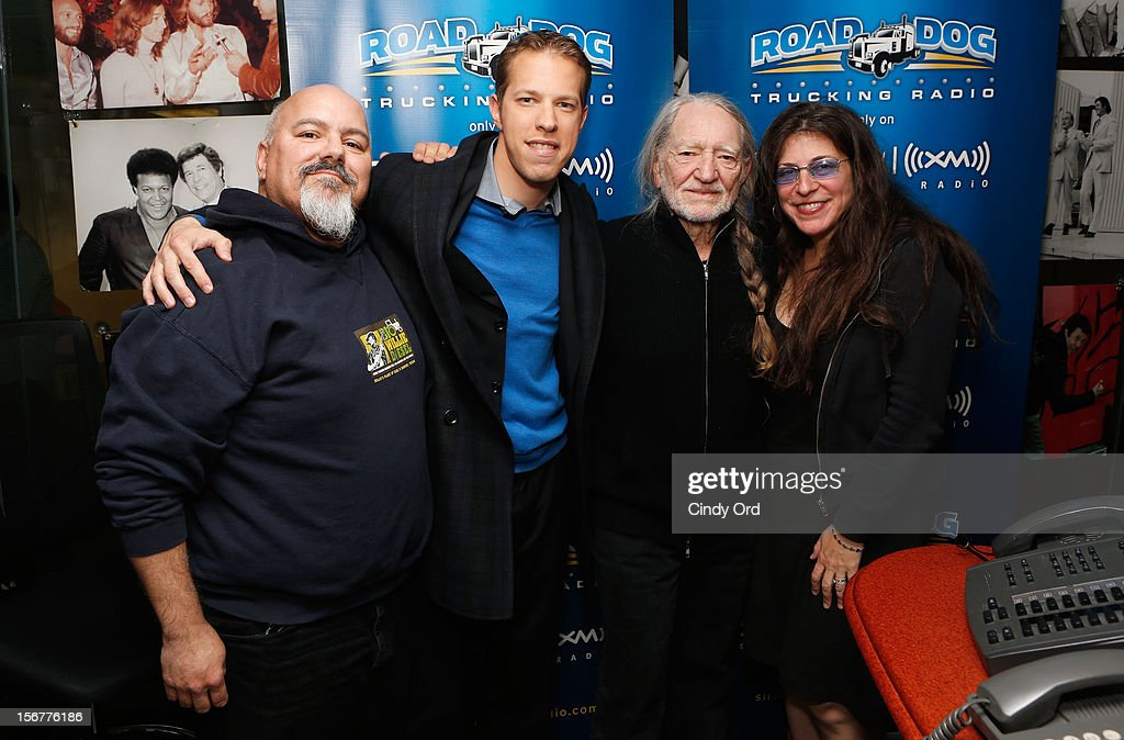 "Brad Keselowsiki (2nd L) and Willie Nelson (2nd R) stop by ""Freewheelin' with Meredith Ochs and Chris T."" on SiriusXM's Road Dog Trucking Radio at the SiriusXM Studios on November 20, 2012 in New York City."