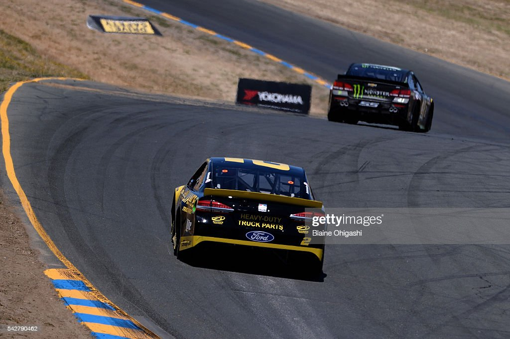 <a gi-track='captionPersonalityLinkClicked' href=/galleries/search?phrase=Brad+Keselowski&family=editorial&specificpeople=890258 ng-click='$event.stopPropagation()'>Brad Keselowski</a>, driver of the #2 Alliance Truck Parts Ford, practices for the NASCAR Sprint Cup Series Toyota/Save Mart 350 at Sonoma Raceway on June 24, 2016 in Sonoma, California.