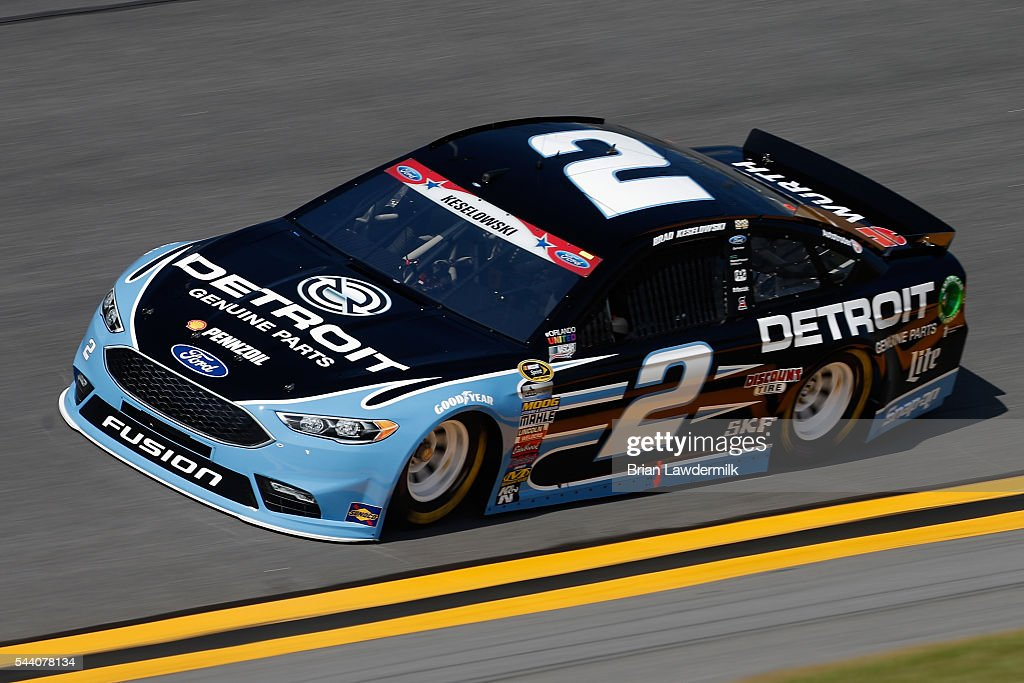 Brad Keselowski, driver of the #2 Detroit Genuine Parts Ford, practices for the NASCAR Sprint Cup Series Coke Zero 400 at Daytona International Speedway on July 1, 2016 in Daytona Beach, Florida.