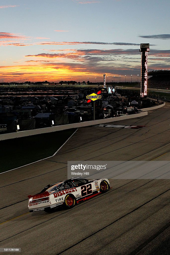 <a gi-track='captionPersonalityLinkClicked' href=/galleries/search?phrase=Brad+Keselowski&family=editorial&specificpeople=890258 ng-click='$event.stopPropagation()'>Brad Keselowski</a>, driver of the #22 Discount Tire Dodge, races during the NASCAR Nationwide Series NRA American Warrior 300 at Atlanta Motor Speedway on September 1, 2012 in Hampton, Georgia.