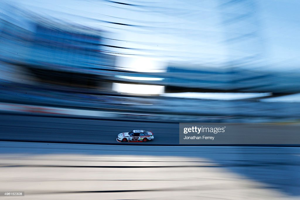 Brad Keselowski driver of the Discount Tire Ford races during the NASCAR XFINITY Series O'Reilly Auto Parts Challenge at Texas Motor Speedway on...