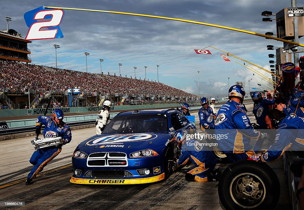 Brad Keselowski, driver of the #2 Miller Lite Dodge, pits during the NASCAR Sprint Cup Series Ford EcoBoost 400 at Homestead-Miami Speedway on November 18, 2012 in Homestead, Florida.