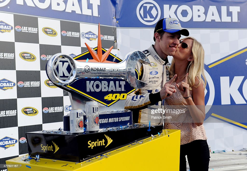 <a gi-track='captionPersonalityLinkClicked' href=/galleries/search?phrase=Brad+Keselowski&family=editorial&specificpeople=890258 ng-click='$event.stopPropagation()'>Brad Keselowski</a>, driver of the #2 Miller Lite Ford, celebrates in Victory Lane with girlfriend Paige White after winning the NASCAR Sprint Cup Series Kobalt 400 at Las Vegas Motor Speedway on March 9, 2014 in Las Vegas, Nevada.