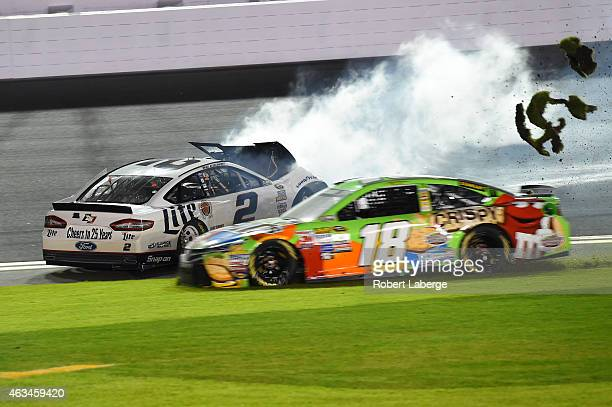Brad Keselowski driver of the Miller Lite Ford crashes during the 3rd Annual Sprint Unlimited at Daytona at Daytona International Speedway on...