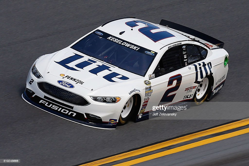 <a gi-track='captionPersonalityLinkClicked' href=/galleries/search?phrase=Brad+Keselowski&family=editorial&specificpeople=890258 ng-click='$event.stopPropagation()'>Brad Keselowski</a>, driver of the #2 Miller Lite Ford, drives during qualifying for the NASCAR Sprint Cup Series Daytona 500 at Daytona International Speedway on February 14, 2016 in Daytona Beach, Florida.