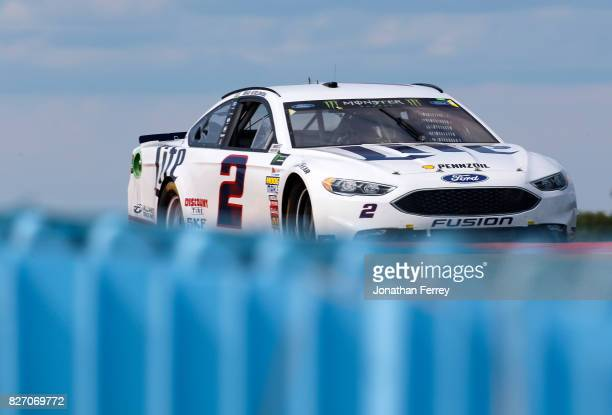 Brad Keselowski driver of the Miller Lite Ford drives during the Monster Energy NASCAR Cup Series I Love NY 355 at The Glen at Watkins Glen...