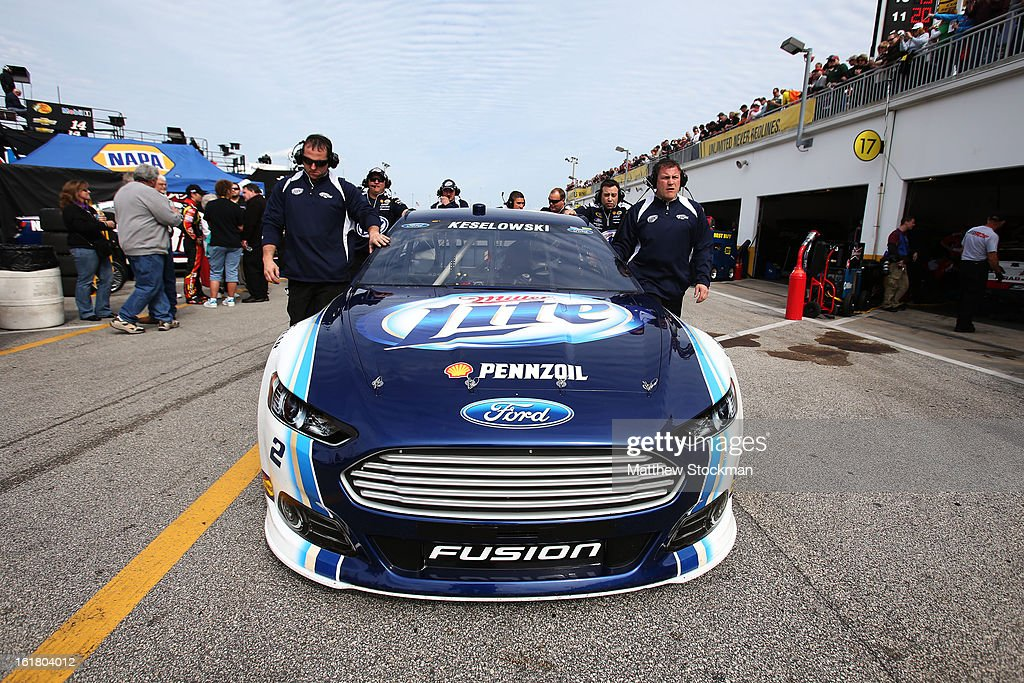 <a gi-track='captionPersonalityLinkClicked' href=/galleries/search?phrase=Brad+Keselowski&family=editorial&specificpeople=890258 ng-click='$event.stopPropagation()'>Brad Keselowski</a>, driver of the #2 Miller Lite Ford, during practice for the NASCAR Sprint Cup Series Daytona 500 at Daytona International Speedway on February 16, 2013 in Daytona Beach, Florida