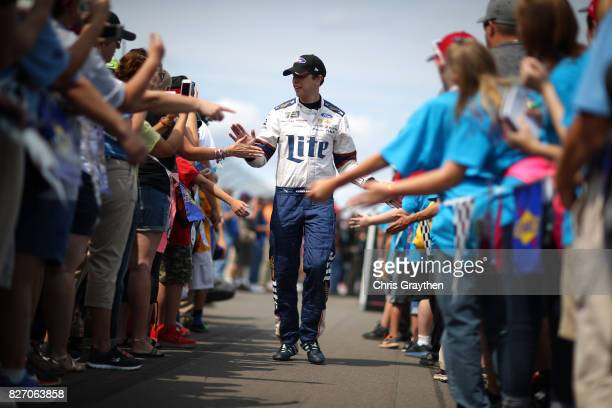 Brad Keselowski driver of the Miller Lite Ford is introduced prior to the Monster Energy NASCAR Cup Series I Love NY 355 at The Glen at Watkins Glen...