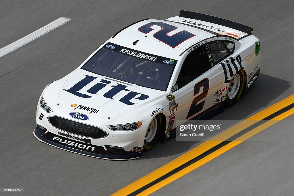 <a gi-track='captionPersonalityLinkClicked' href=/galleries/search?phrase=Brad+Keselowski&family=editorial&specificpeople=890258 ng-click='$event.stopPropagation()'>Brad Keselowski</a>, driver of the #2 Miller Lite Ford, practices for the NASCAR Sprint Cup Series GEICO 500 at Talladega Superspeedway on April 29, 2016 in Talladega, Alabama.