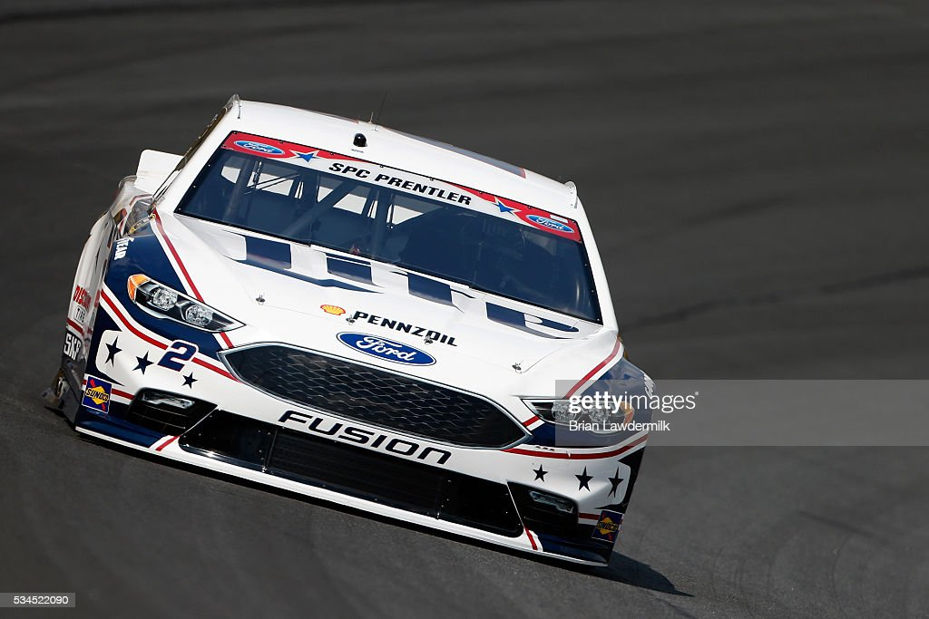 Brad Keselowski, driver of the #2 Miller Lite Ford, practices for the NASCAR Sprint Cup Series Coca-Cola 600 at Charlotte Motor Speedway on May 27, 2016 in Charlotte, North Carolina.