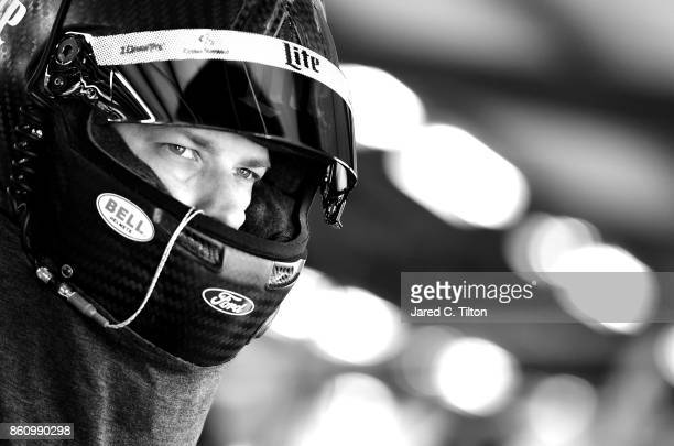 Brad Keselowski driver of the Miller Lite Ford prepares to drive during practice for the Monster Energy NASCAR Cup Series Alabama 500 at Talladega...