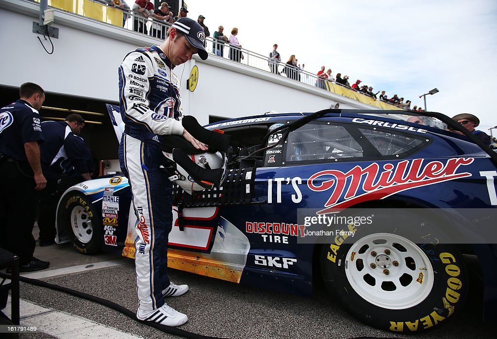 Brad Keselowski, driver of the #2 Miller Lite Ford, prepares to practice for the NASCAR Sprint Cup Series Daytona 500 at Daytona International Speedway on February 16, 2013 in Daytona Beach, Florida