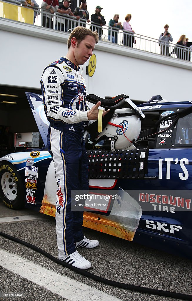 Brad Keselowski, driver of the #2 Miller Lite Ford, prepares to practice for the NASCAR Sprint Cup Series Daytona 500 at Daytona International Speedway on February 16, 2013 in Daytona Beach, Florida