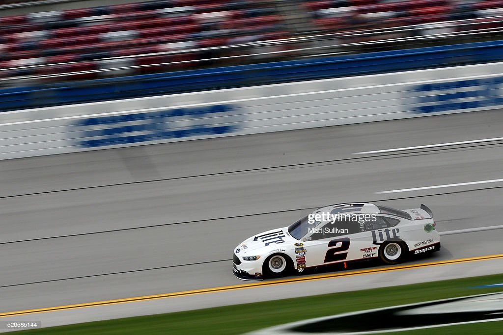 <a gi-track='captionPersonalityLinkClicked' href=/galleries/search?phrase=Brad+Keselowski&family=editorial&specificpeople=890258 ng-click='$event.stopPropagation()'>Brad Keselowski</a>, driver of the #2 Miller Lite Ford, races during qualifying for the NASCAR Sprint Cup Series GEICO 500 at Talladega Superspeedway on April 30, 2016 in Talladega, Alabama.