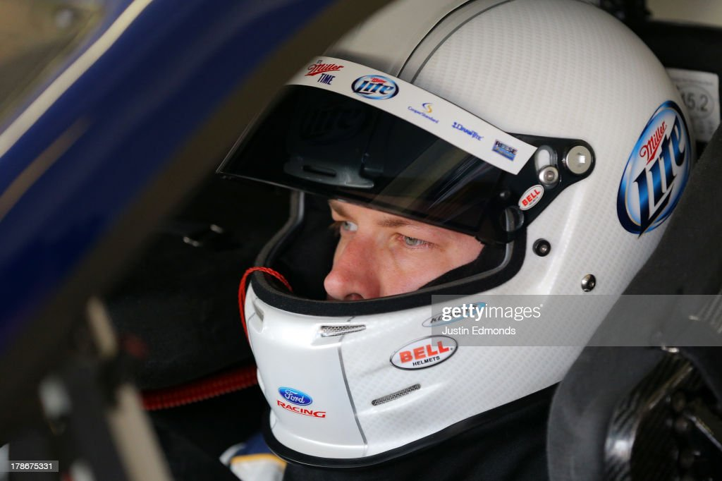 <a gi-track='captionPersonalityLinkClicked' href=/galleries/search?phrase=Brad+Keselowski&family=editorial&specificpeople=890258 ng-click='$event.stopPropagation()'>Brad Keselowski</a>, driver of the #2 Miller Lite Ford, sits in his car during practice for the NASCAR Sprint Cup Series AdvoCare 500 at Atlanta Motor Speedway on August 30, 2013 in Hampton, Georgia.