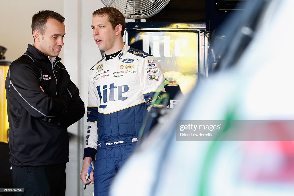 <a gi-track='captionPersonalityLinkClicked' href=/galleries/search?phrase=Brad+Keselowski&family=editorial&specificpeople=890258 ng-click='$event.stopPropagation()'>Brad Keselowski</a>, driver of the #2 Miller Lite Ford, talks with crew chief <a gi-track='captionPersonalityLinkClicked' href=/galleries/search?phrase=Paul+Wolfe&family=editorial&specificpeople=2257776 ng-click='$event.stopPropagation()'>Paul Wolfe</a> in the garage area during practice for the NASCAR Sprint Cup Series Daytona 500 at Daytona International Speedway on February 13, 2016 in Daytona Beach, Florida.