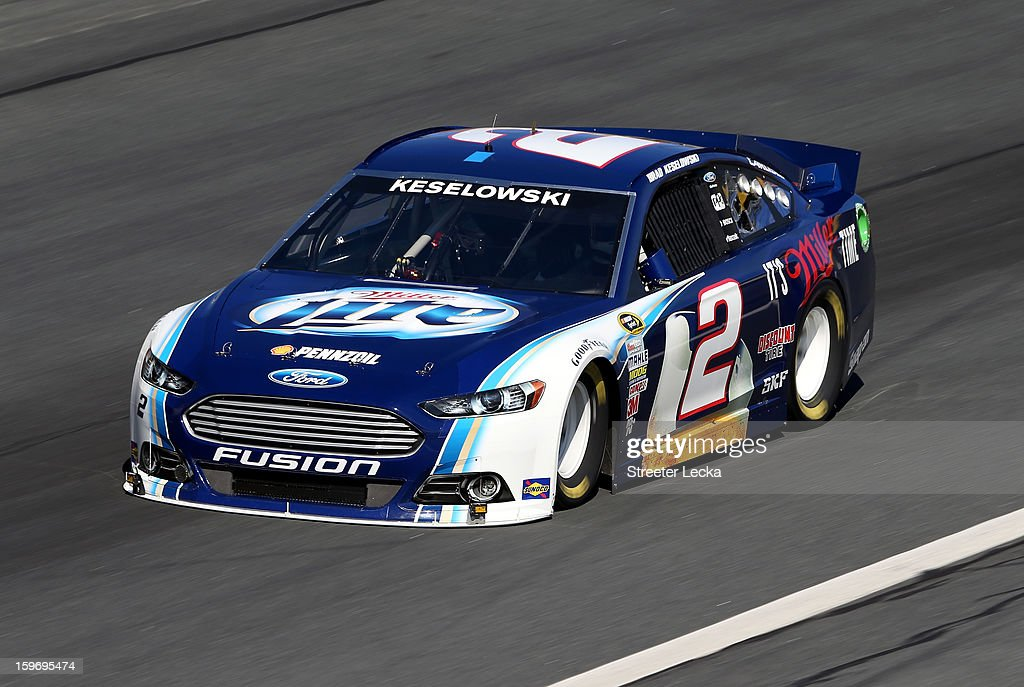 Brad Keselowski, driver of the #2 Miller Lite, in action during NASCAR Testing at Charlotte Motor Speedway on January 18, 2013 in Charlotte, North Carolina.