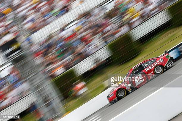 Brad Keselowski driver of the Redd's Ford drives during the NASCAR Sprint Cup Series Pocono 400 at Pocono Raceway on June 8 2014 in Long Pond...