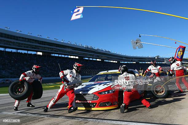 Brad Keselowski driver of the Wurth Ford pits during the NASCAR Sprint Cup Series AAA Texas 500 at Texas Motor Speedway on November 8 2015 in Fort...