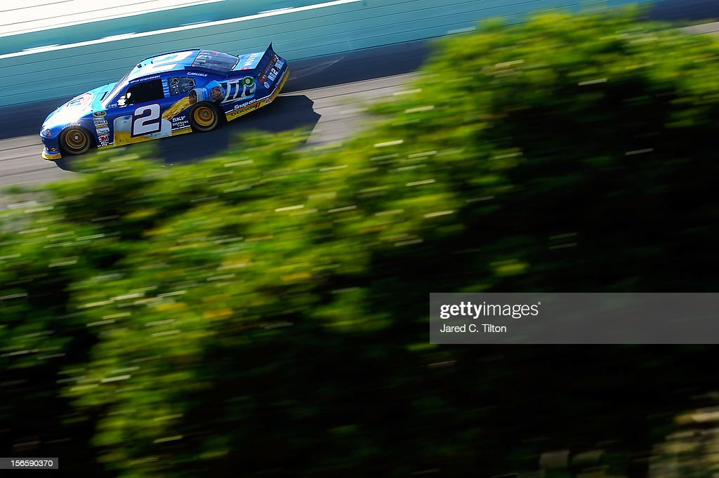<a gi-track='captionPersonalityLinkClicked' href=/galleries/search?phrase=Brad+Keselowski&family=editorial&specificpeople=890258 ng-click='$event.stopPropagation()'>Brad Keselowski</a> drives the #2 Miller Lite Dodge during practice for the NASCAR Sprint Cup Series Ford EcoBoost 400 at Homestead-Miami Speedway on November 17, 2012 in Homestead, Florida.