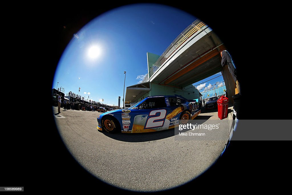 <a gi-track='captionPersonalityLinkClicked' href=/galleries/search?phrase=Brad+Keselowski&family=editorial&specificpeople=890258 ng-click='$event.stopPropagation()'>Brad Keselowski</a>, drives the #2 Miller Lite Dodge through the garage area during practice for the NASCAR Sprint Cup Series Ford EcoBoost 400 at Homestead-Miami Speedway on November 17, 2012 in Homestead, Florida.