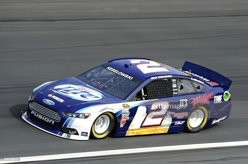 Brad Keselowski drives the #2 Miller Lite Ford during testing at Charlotte Motor Speedway on December 11, 2012 in Concord, North Carolina.