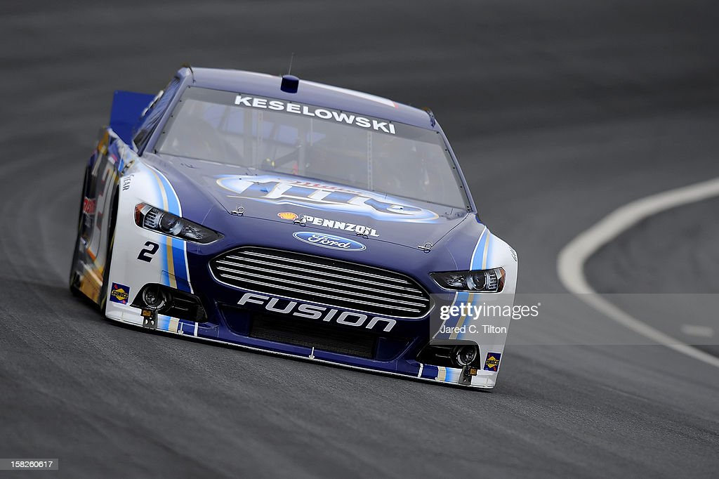 Brad Keselowski drives the #2 Miller Lite Ford during testing at Charlotte Motor Speedway on December 12, 2012 in Concord, North Carolina.
