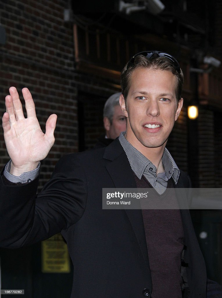 Brad Keselowski leaves 'The Late Show with David Letterman' at Ed Sullivan Theater on November 20, 2012 in New York City.