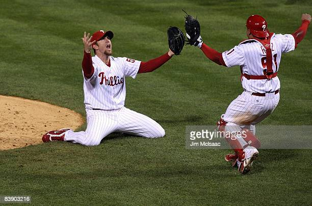 Brad Lidge and Carlos Ruiz of the Philadelphia Phillies celebrate the final out of their 43 win to win the World Series against the Tampa Bay Rays...