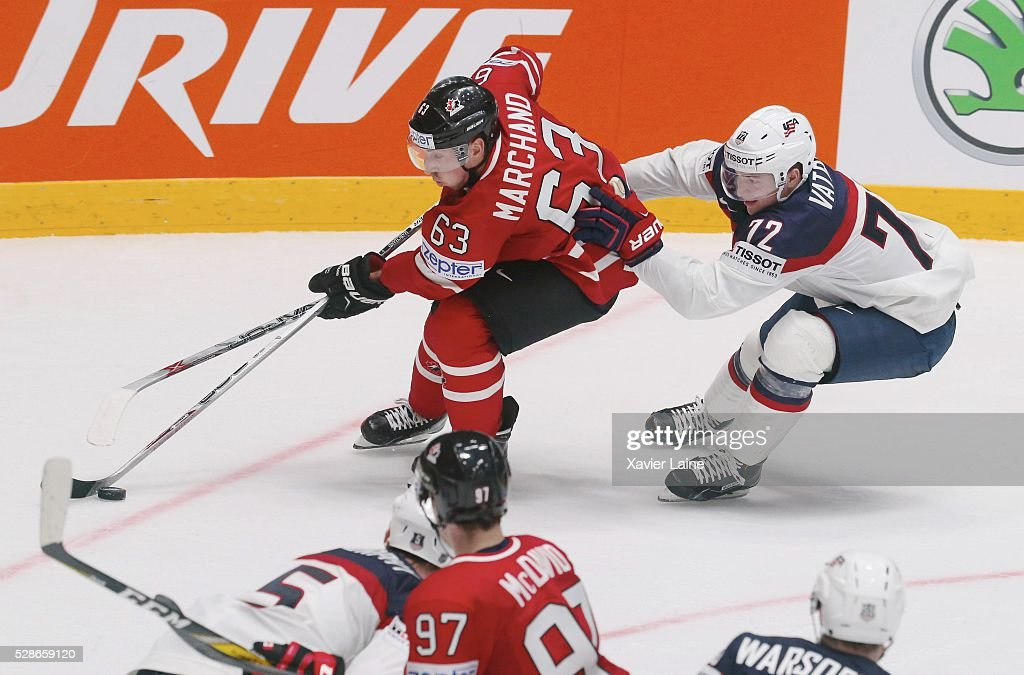 Brad Marchand of Canada in action with Frank Vatrano of USA during the 2016 IIHF World Championship between USA and Canada at Yubileyny Sports Palace ,on May 6, 2016 in Saint Petersburg, Russia.