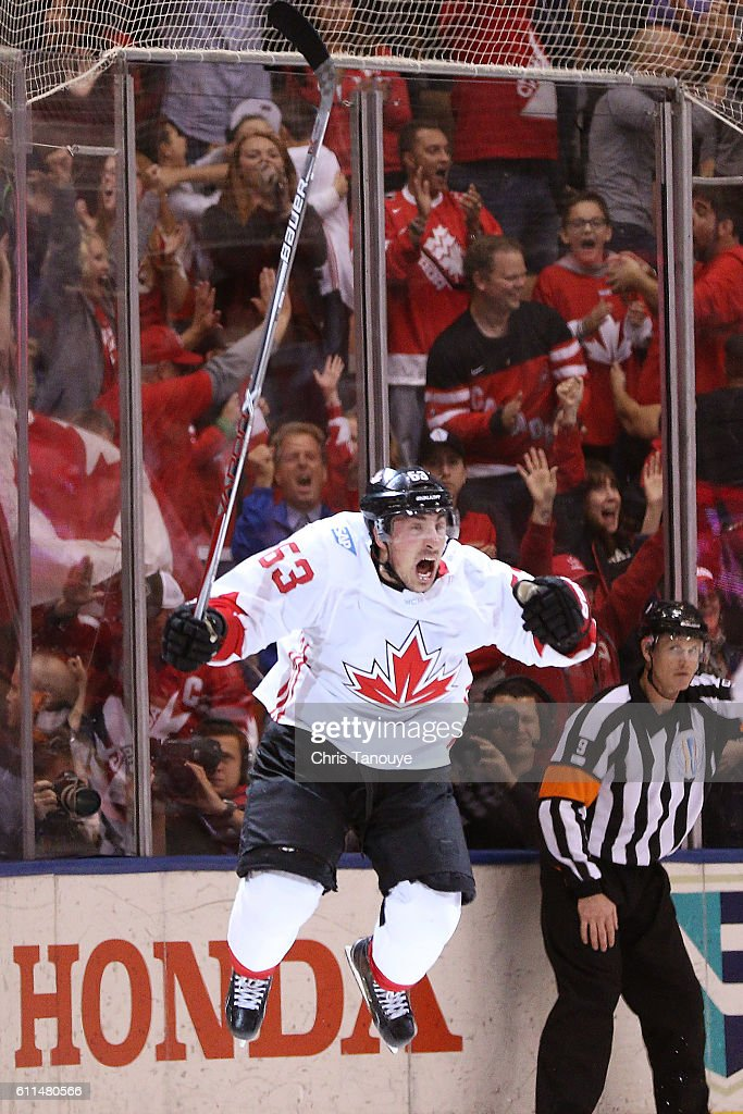 Brad Marchand #63 of Team Canada celebrates after scoring a third period goal against Team Europe during Game Two of the World Cup of Hockey final series at the Air Canada Centre on September 29, 2016 in Toronto, Canada. Team Canada defeated Team Europe 2-1.