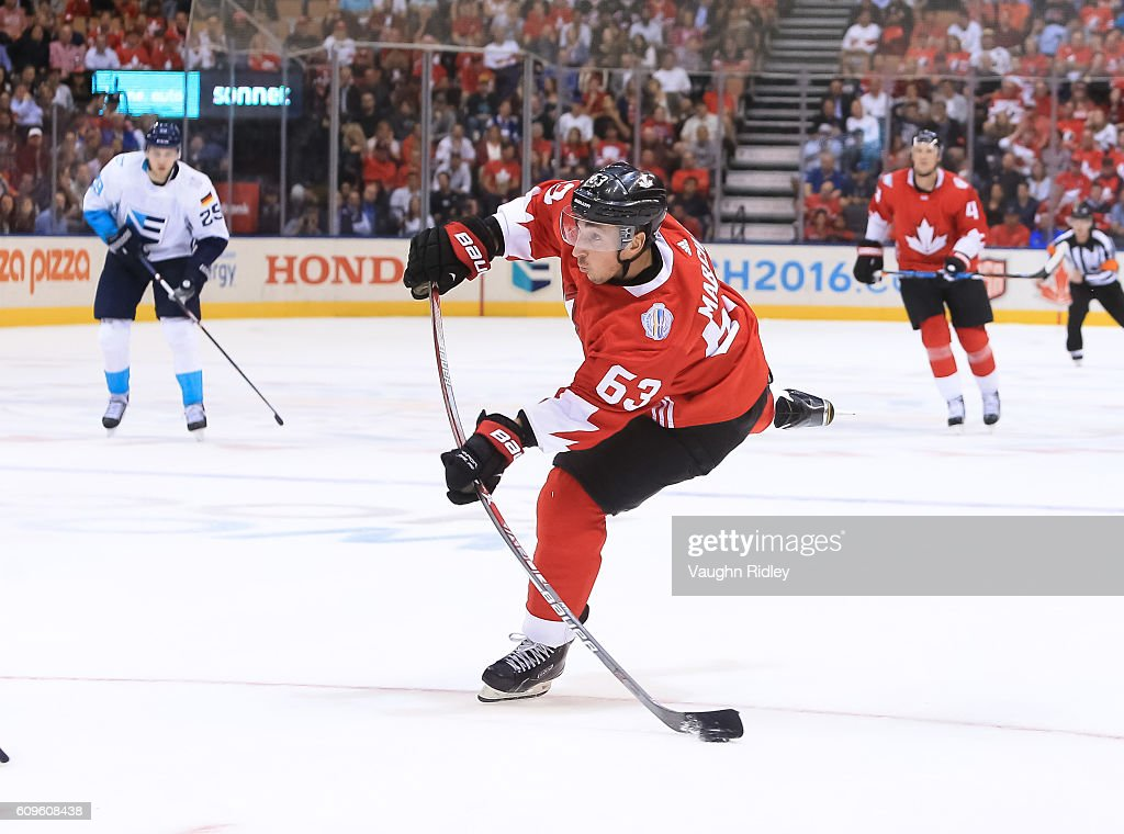 Brad Marchand #63 of Team Canada fires a slapshot on Team Europe during the World Cup of Hockey 2016 at Air Canada Centre on September 21, 2016 in Toronto, Ontario, Canada.