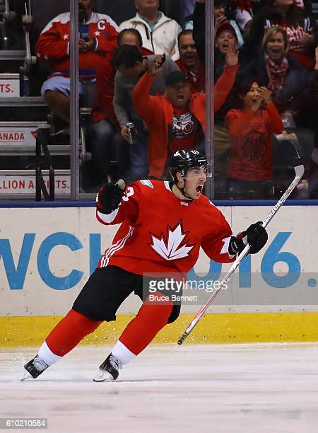 Brad Marchand of Team Canada reacts after scoring a third period goal against Team Russia at the semifinal game during the World Cup of Hockey...