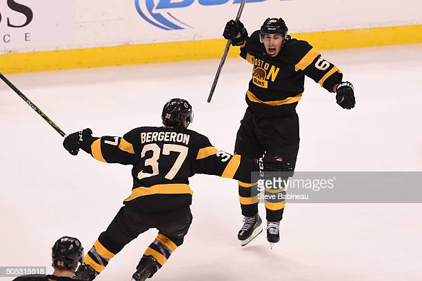 Brad Marchand of the Boston Bruins celebrates a goal against the Toronto Maple Leafs at the TD Garden on January 16 2016 in Boston Massachusetts
