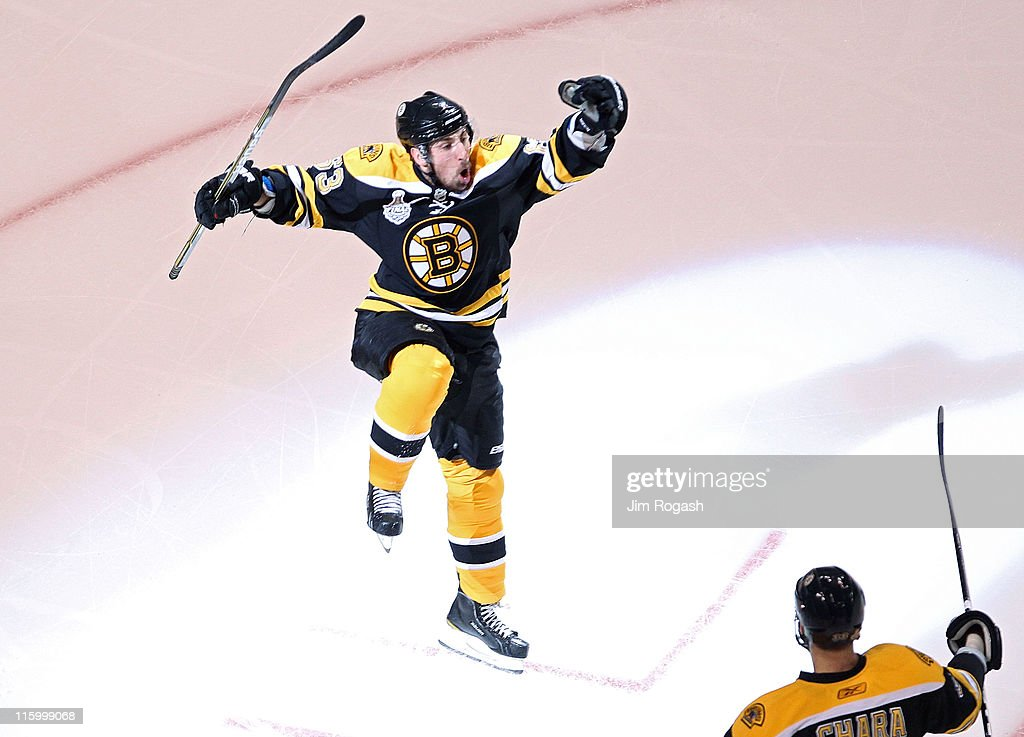 Brad Marchand of the Boston Bruins celebrates after scoring a goal in the first period against Roberto Luongo of the Vancouver Canucks during Game...