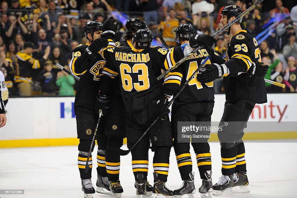 Brad Marchand #63 of the Boston Bruins celebrates his goal with his teammates against the Pittsburgh Penguins at the TD Garden on April 20, 2013 in Boston, Massachusetts.