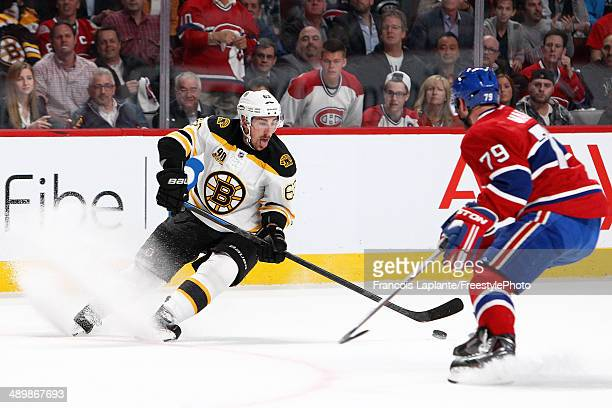 Brad Marchand of the Boston Bruins controls the puck against Andrei Markov of the Montreal Canadiens in Game Six of the Second Round of the 2014 NHL...