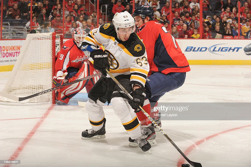 <a gi-track='captionPersonalityLinkClicked' href=/galleries/search?phrase=Brad+Marchand&family=editorial&specificpeople=2282544 ng-click='$event.stopPropagation()'>Brad Marchand</a> #63 of the Boston Bruins controls the puck during an NHL hockey game against the Washington Capitals on February 5, 2012 at the Verizon Center in Washington, DC.