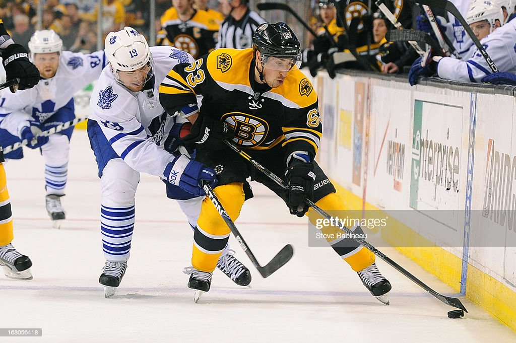 <a gi-track='captionPersonalityLinkClicked' href=/galleries/search?phrase=Brad+Marchand&family=editorial&specificpeople=2282544 ng-click='$event.stopPropagation()'>Brad Marchand</a> #63 of the Boston Bruins fights for the puck against <a gi-track='captionPersonalityLinkClicked' href=/galleries/search?phrase=Joffrey+Lupul&family=editorial&specificpeople=206995 ng-click='$event.stopPropagation()'>Joffrey Lupul</a> #19 of the Toronto Maple Leafs in Game Two of the Eastern Conference Quarterfinals during the 2013 NHL Stanley Cup Playoffs at TD Garden on May 4, 2013 in Boston, Massachusetts.