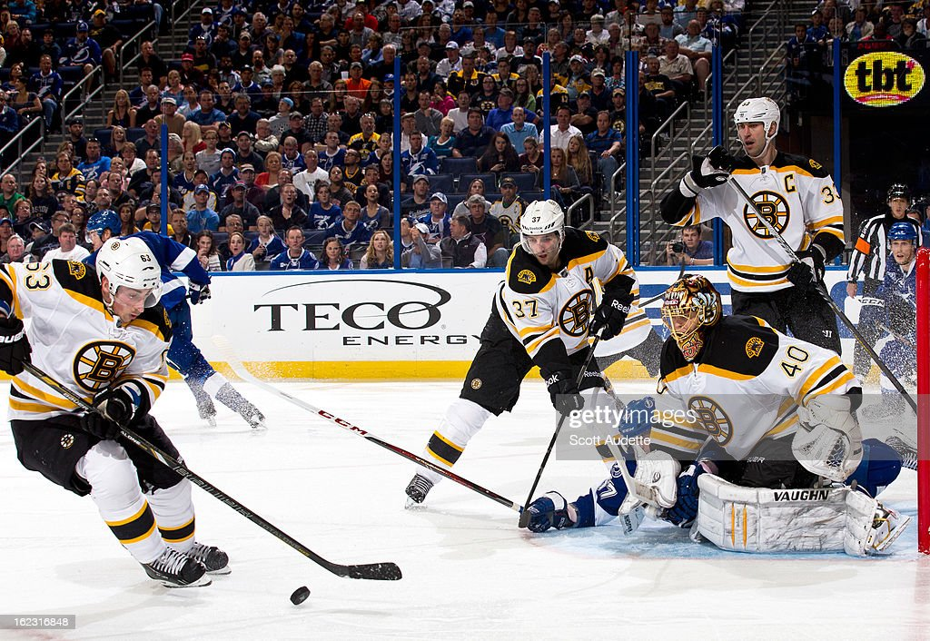 <a gi-track='captionPersonalityLinkClicked' href=/galleries/search?phrase=Brad+Marchand&family=editorial&specificpeople=2282544 ng-click='$event.stopPropagation()'>Brad Marchand</a> #63 of the Boston Bruins gains control of the puck during the third period of the game against the Tampa Bay Lightning at the Tampa Bay Times Forum on February 21, 2013 in Tampa, Florida.