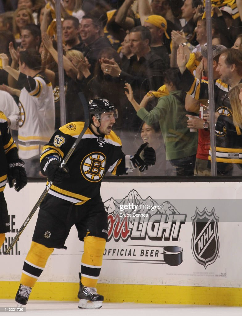 <a gi-track='captionPersonalityLinkClicked' href=/galleries/search?phrase=Brad+Marchand&family=editorial&specificpeople=2282544 ng-click='$event.stopPropagation()'>Brad Marchand</a> #63 of the Boston Bruins reacts after scoring at 17:49 of the second period against the Washington Capitals in Game Five of the Eastern Conference Quarterfinals during the 2012 NHL Stanley Cup Playoffs at TD Garden on April 21, 2012 in Boston, Massachusetts.
