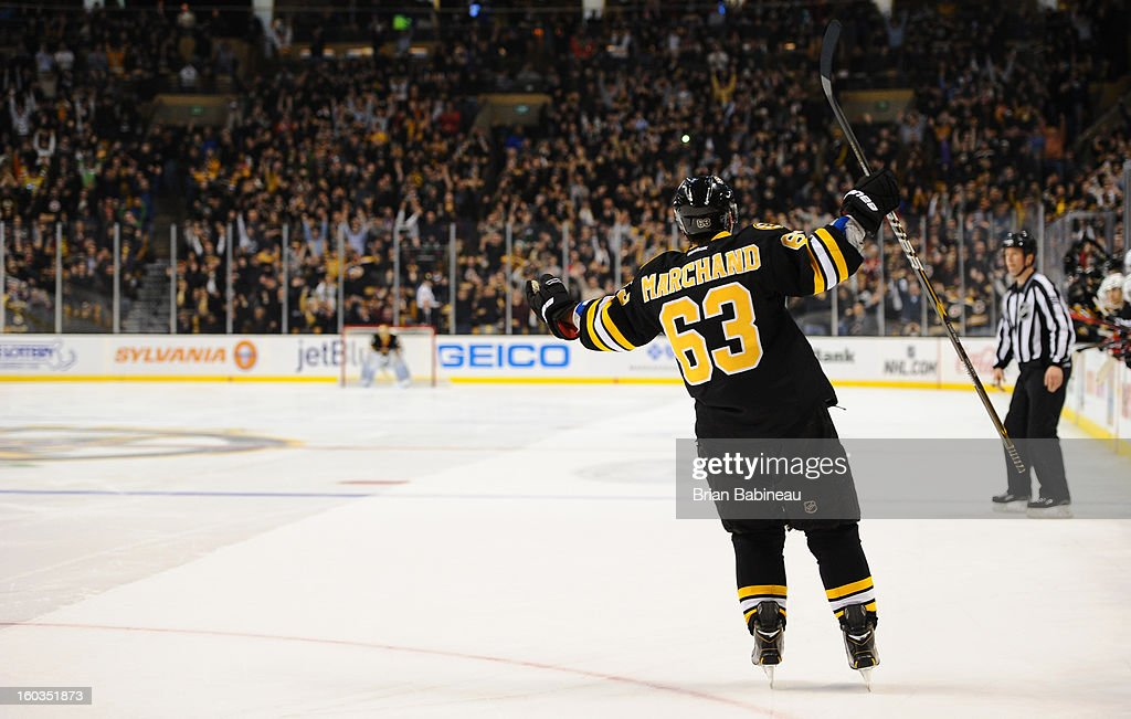 <a gi-track='captionPersonalityLinkClicked' href=/galleries/search?phrase=Brad+Marchand&family=editorial&specificpeople=2282544 ng-click='$event.stopPropagation()'>Brad Marchand</a> #63 of the Boston Bruins scores in a shootout against the New Jersey Devils at the TD Garden on January 29, 2013 in Boston, Massachusetts.