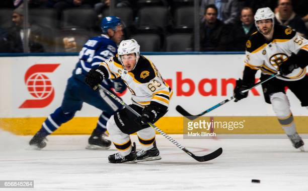 Brad Marchand of the Boston Bruins skate against the Toronto Maple Leafs during the second period at the Air Canada Centre on March 20 2017 in...