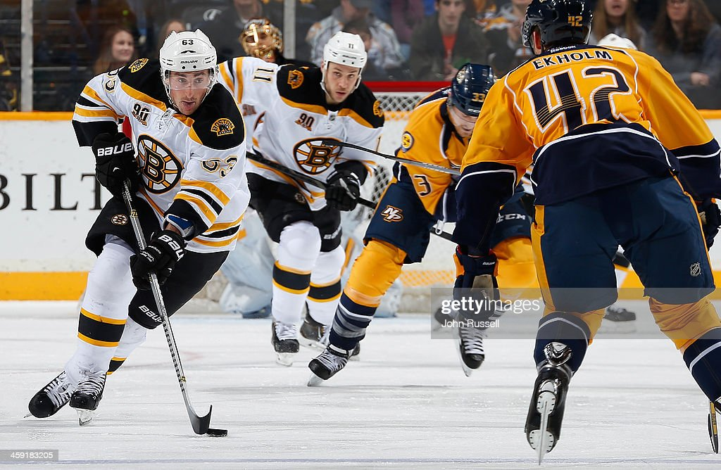 <a gi-track='captionPersonalityLinkClicked' href=/galleries/search?phrase=Brad+Marchand&family=editorial&specificpeople=2282544 ng-click='$event.stopPropagation()'>Brad Marchand</a> #63 of the Boston Bruins skates against the Nashville Predators at Bridgestone Arena on December 23, 2013 in Nashville, Tennessee.