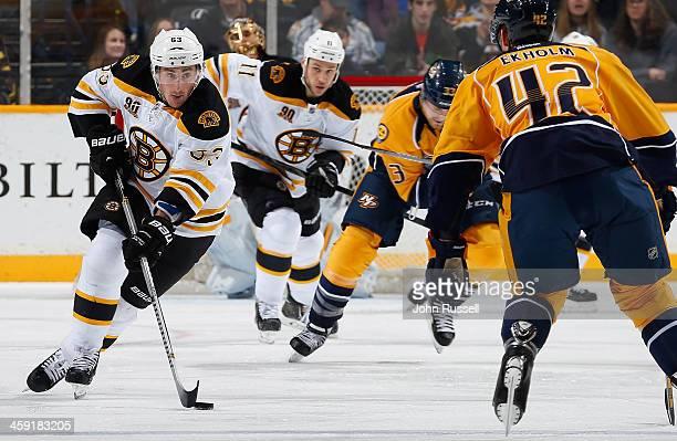 Brad Marchand of the Boston Bruins skates against the Nashville Predators at Bridgestone Arena on December 23 2013 in Nashville Tennessee