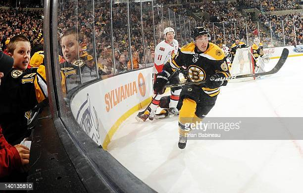Brad Marchand of the Boston Bruins skates against the Ottawa Senators at the TD Garden on February 28 2012 in Boston Massachusetts